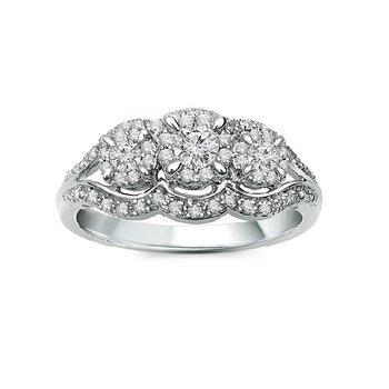 1/2ct tw Diamond Three Stone Engagement Ring in 10K White Gold