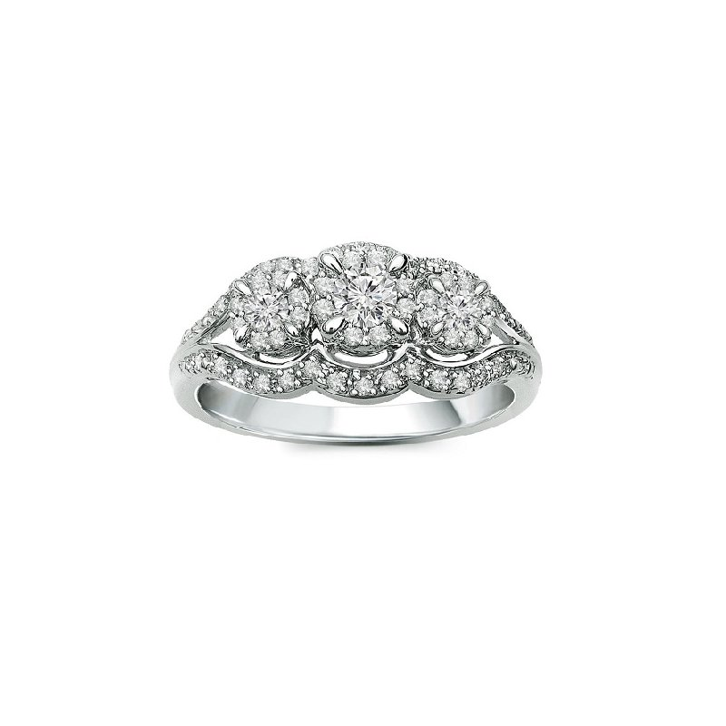 1/2ct tw Diamond Three Stone Engagement Ring in 10K White Gold
