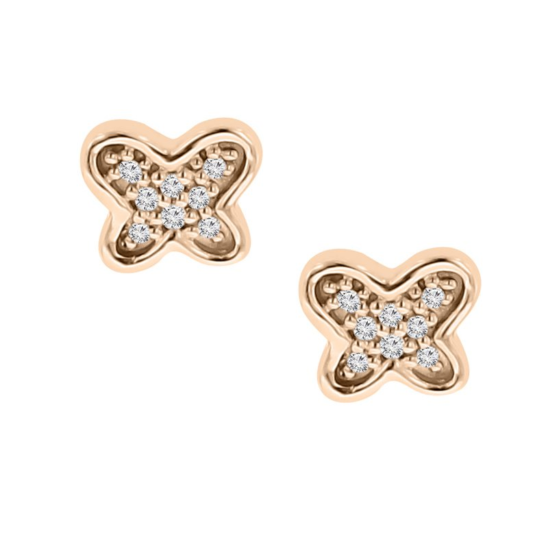 .05ct tw Diamond Garden District Collection Butterfly Stud Earrings in 10K Rose Gold