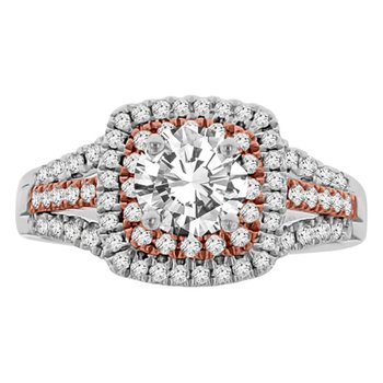 1/2ct tw Diamond Halo Engagement Ring Setting in 14K White & Rose Gold