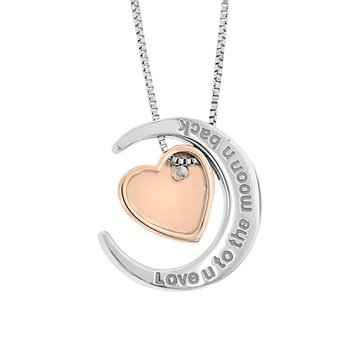.01ct tw Diamond Moon & Back Necklace in Sterling Silver & 10K Rose Gold