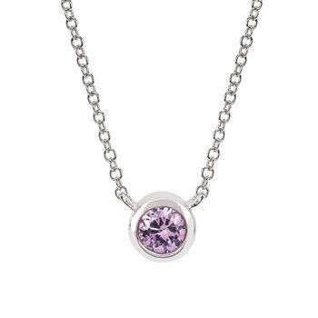 June Birthstone Necklace in 10K White Gold