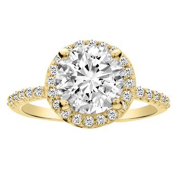 2ct tw Diamond Halo Engagement Ring in 14K Yellow Gold