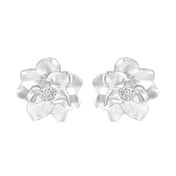 .05ct tw Diamond Garden District Collection Magnolia Stud Earrings in 10K White Gold