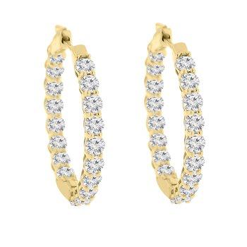 5ct tw Diamond Hoop Earrings in 14K Yellow Gold