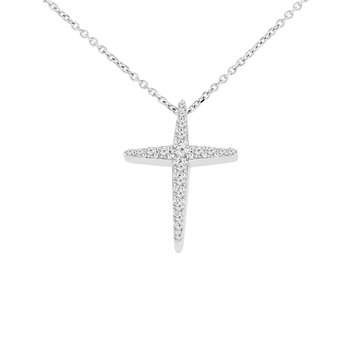1/4ct tw Diamond Cross Necklace in 10K White Gold