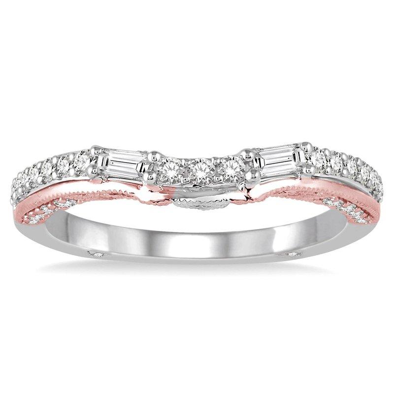 1/3ct tw Diamond Wedding Ring in 14K White & Rose Gold