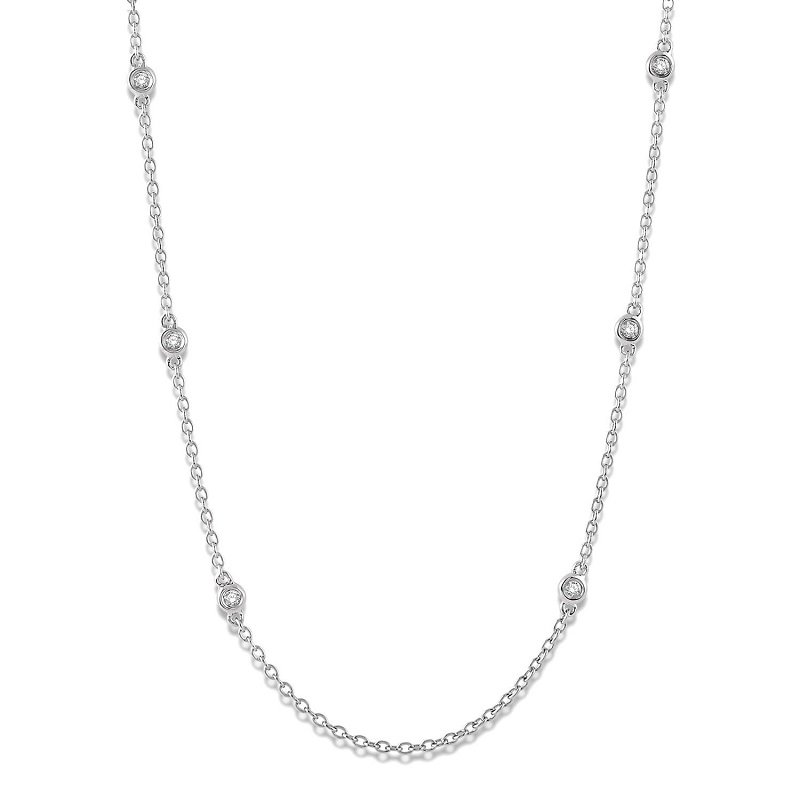1/5ct tw Diamond by The Yard Necklace in 14K White Gold