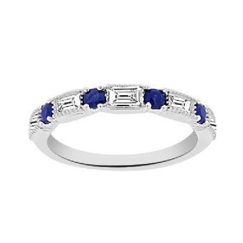 1/8ct tw Diamond & Blue Sapphire Anniversary Ring in 14K White Gold