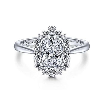 1/2ct tw Diamond Halo Engagement Ring Setting in 14K White Gold
