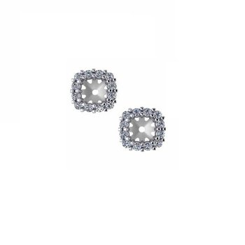 1/4ct tw Diamond Halo Earring Jackets in 14K White Gold