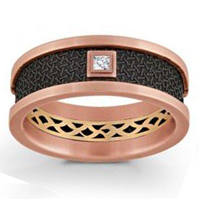 .05ct tw Diamond Wedding Ring in 14K Rose Gold & Black Carbon Fiber