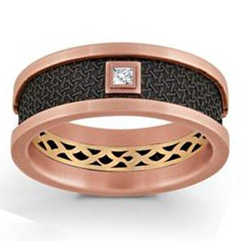 .05ct tw Diamond Wedding Ring in 14K Rose Gold & Black Carbon Fiber