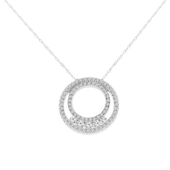 3/8ct tw Diamond Journey Circle Necklace in 10K White Gold