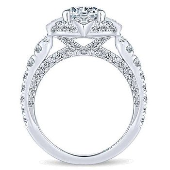 1 1/4ct tw Diamond Halo Engagement Ring Setting in 18K White Gold