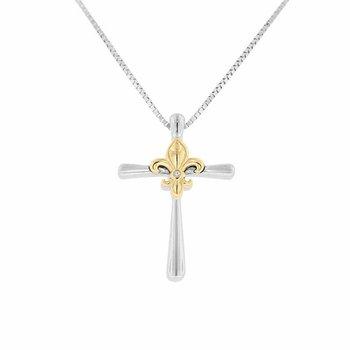 .01ct tw Diamond Fleur De Lis Cross Necklace in Sterling Silver & 10K Yellow Gold