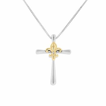 .01ct tw Diamond Fleur De Lis Cross Necklace in Sterling Silver & 10K Yellow Gold