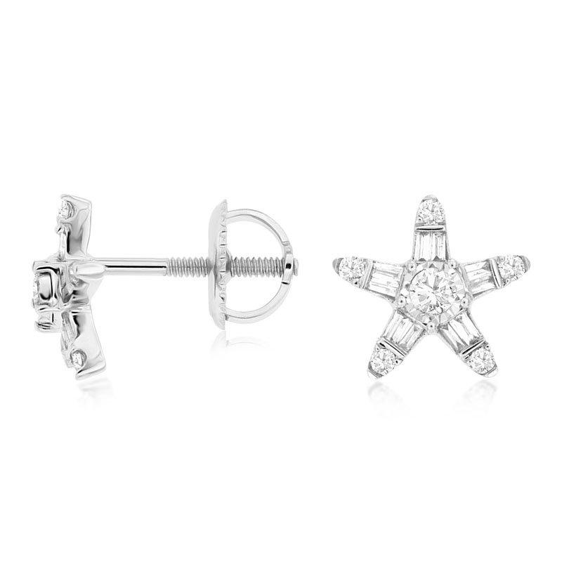 1/4ct tw Diamond Stars Stud Earrings in 14K White Gold