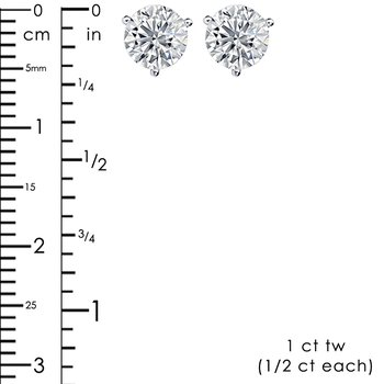 1ct tw Diamond Fleur De Lis Solitaire Stud Earrings in 14K White Gold