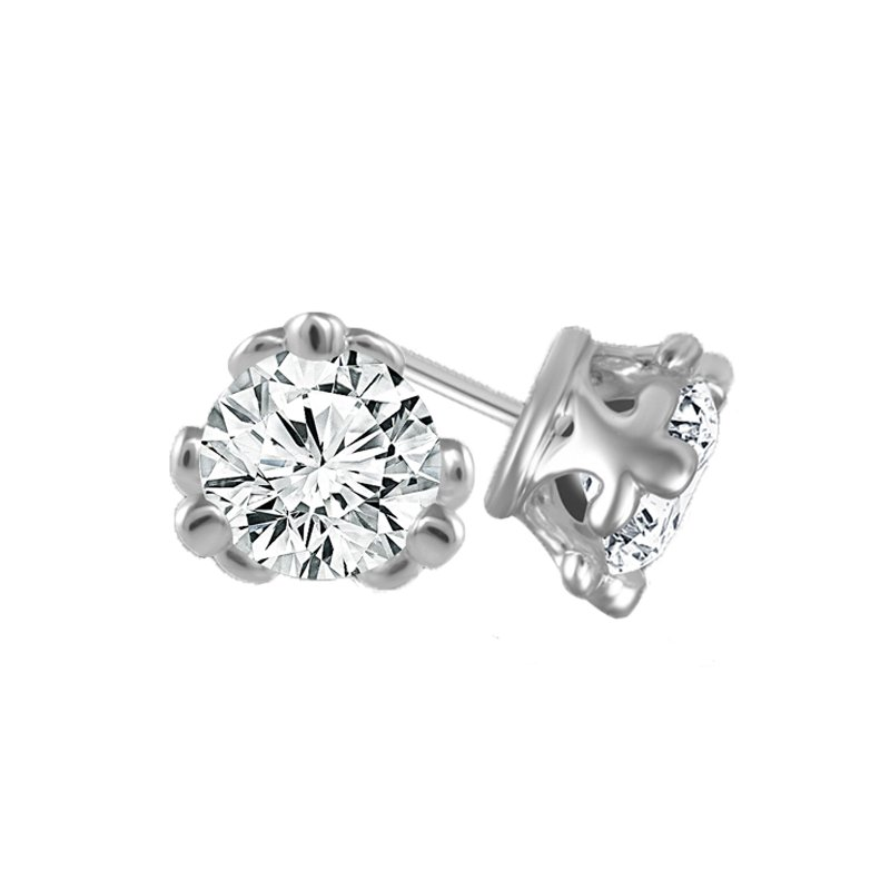 1ct tw Diamond Fleur De Lis Solitaire Stud Earrings in 14K White Gold