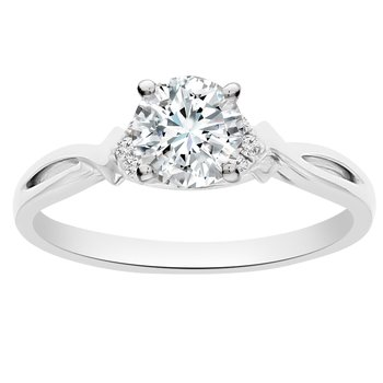 1/2ct tw Newborn Lab Created Diamond Engagement Ring in 18K White Gold