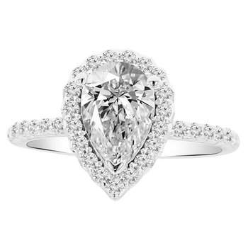2ct tw NewBorn Lab Created Diamond Halo Engagement Ring Setting in 14K White Gold