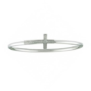 1/14ct tw Diamond Cross Bracelet in Sterling Silver and Stainless Steel