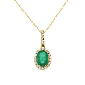 3/4ct tw Diamond & Emerald Halo Necklace in 14K Yellow Gold