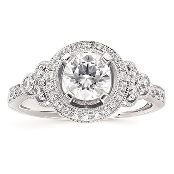 1ct tw NewBorn Lab Created Diamond Halo Engagement Ring in 14K White Gold