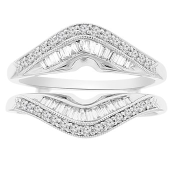 1/2ct tw Diamond Wedding Ring Guard in 18K White Gold