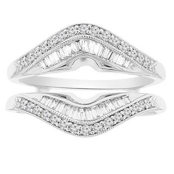 1/2ct tw Diamond Wedding Ring Guard in 18K White Gold