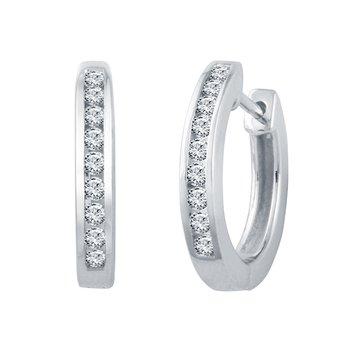 1/3ct tw Diamond Hoop Earrings in Sterling Silver