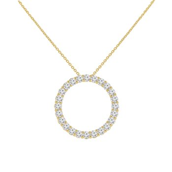 1 7/8ct tw NewBorn Lab Created Diamond Circle Necklace in 14K Yelow Gold