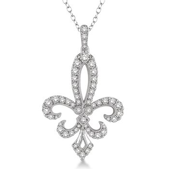 3/4ct tw Diamond Fleur De Lis Necklace in 14K White Gold