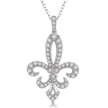 3/4ct tw Diamond Fleur De Lis Necklace in 14K White Gold