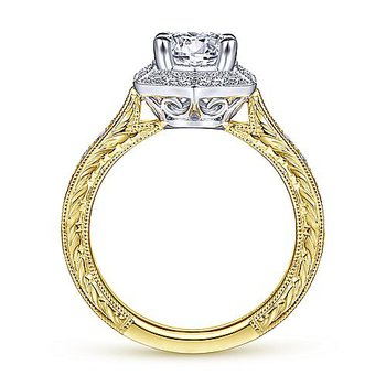 1 1/4ct tw Diamond Halo Engagement Ring in 14K White & Yellow Gold