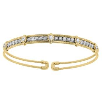 1ct tw Diamond Flexi Collection Bangle Bracelet in 14K White & Yellow Gold