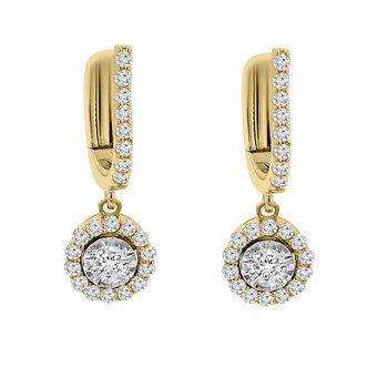 5/8ct tw Diamond Halo Dangle Earrings in 14K White & Yellow Gold