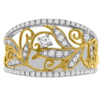 3/8ct tw Diamond Floral Fashion Ring in 18K White & Yellow Gold