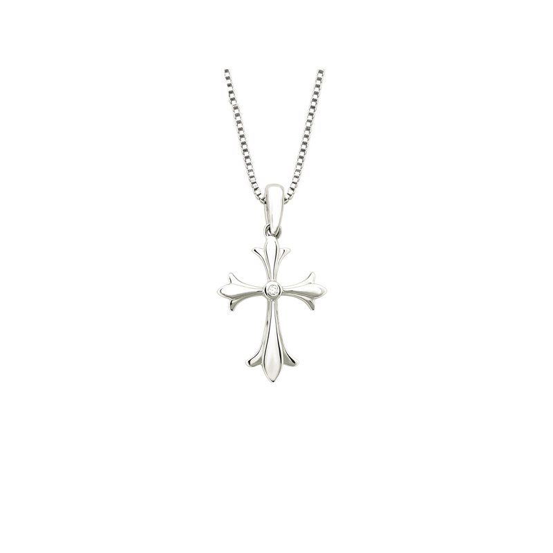 .01ct tw Diamond Cross Necklace in Sterling Silver