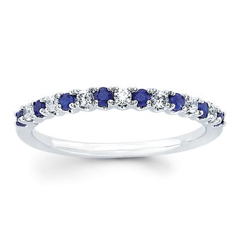 3/8ct tw Diamond & Sapphire Anniversary Ring in 14K White Gold