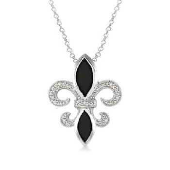 .03ct tw Diamond & Black Onyx Fleur De Lis Necklace in Sterling Silver