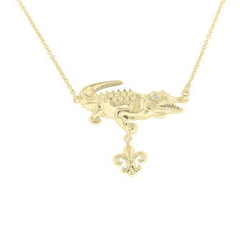 .01ct tw Diamond Nola Collection Alligator & Fleur De Lis Necklace in 10K Yellow Gold