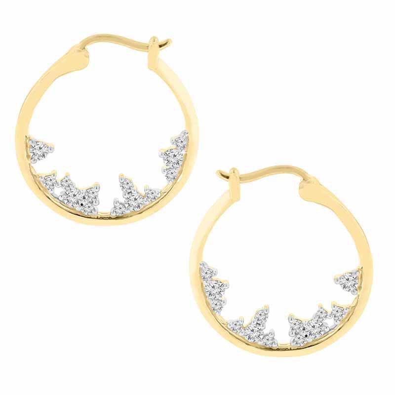 1/4ct tw Diamond Hoop Earrings in 10K Yellow Gold