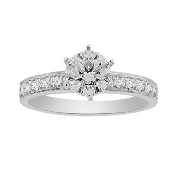 1/3ct tw Diamond Engagement Ring Setting in 14K White Gold