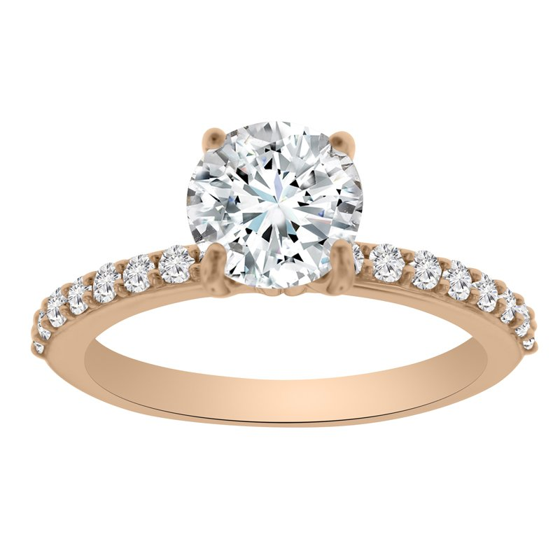 1/4ct tw NewBorn Lab Created Diamond Engagement Ring Setting in 14K Rose Gold