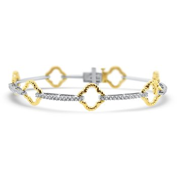 1 1/8ct tw Diamond Link Bracelet in 14K White and Yellow Gold