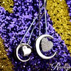 1/8ct tw Diamond Moon & Back Necklace in Sterling Silver