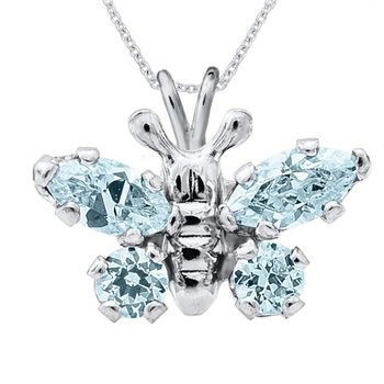 March Birthstone Butterfly Necklace in Sterling Silver
