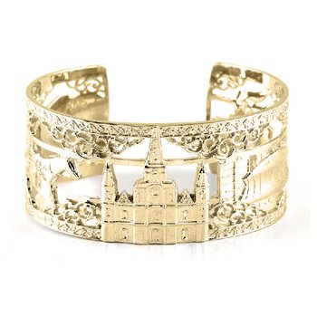 .02ct tw Diamond 7 Inch NOLA Cuff Bracelet in Sterling Silver & Yellow Gold Plating